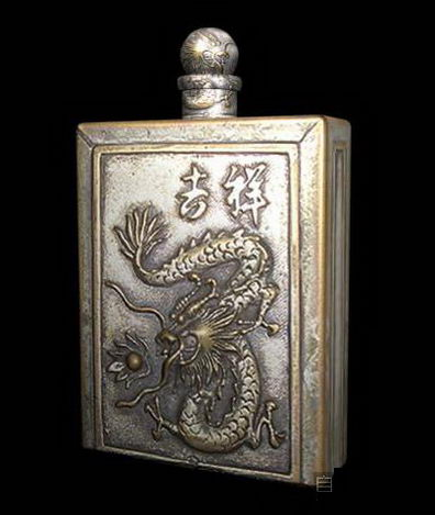 Snuff Box Metal Dragon Relief Artwork