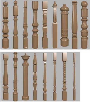 The 3D models of various handrails wooden posts