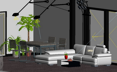 Common living room 3D Model