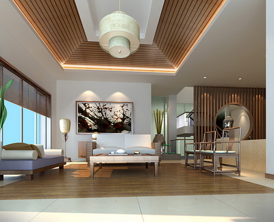 3D Model of Chinese-style living room