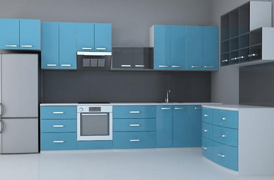 Adjust the 3D model of the blue body of cabinet