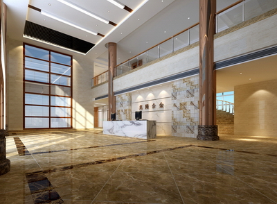 Office lobby 3D models (including maps, light area network)