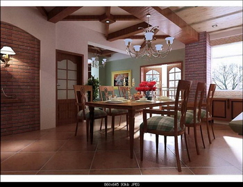 American country style interior 3D model (including materials, light area network, and CAD working d