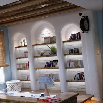 3D model of the Mediterranean decoration style of study (including materials)