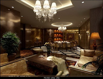 Interior Design Model: Deluxe Living Room And Dining Room Design
