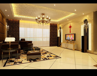 Residential Design£ºEuropean Living Room Design 3Ds Max Model