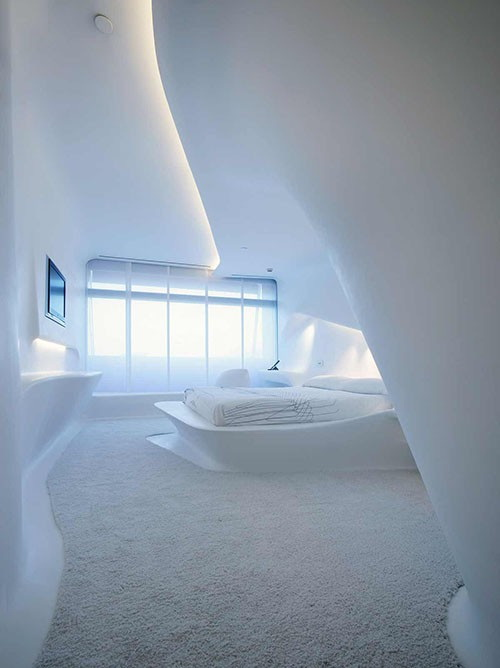 Pure White Minimalism Bedroom Design