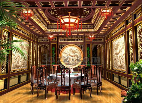 Luxury Chinese Restaurant Separate Room With the Corridor Design