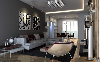 Modern distinctive colors living room