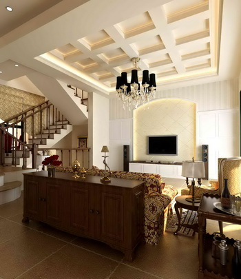 European-style duplex solid wood model of a sense of casual living room
