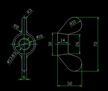 Wing nut CAD drawings Free Download