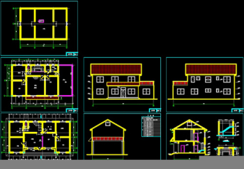 Two Layers Of Small Rural Villa CAD Building Plans
