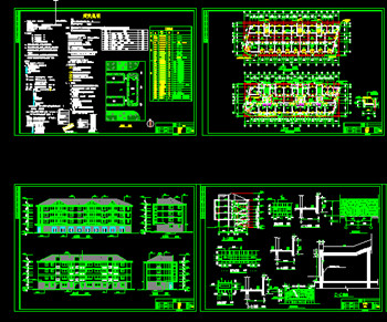 Residential buildings complete CAD building plans