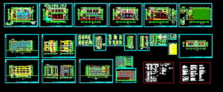 Complete set of multi-storey building drawings