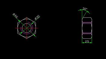 CAD drawings of standard hex nuts