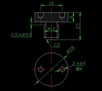 End surface with a screw hole circle CAD drawings