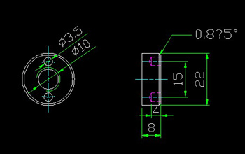 End surface three hole circle nuts CAD drawings