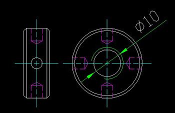 Side nut with a hole circle CAD drawings