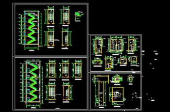 Stairs, elevators, bathrooms CAD drawing