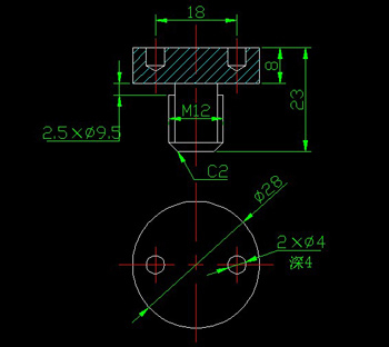End face with Kongyuan the screws CAD drawings