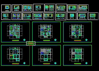 Villa interior CAD decorate construction drawings