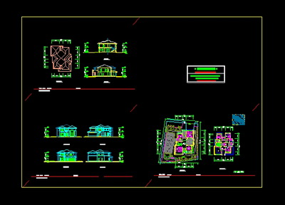 Two sets of private villas design diagram with pictures