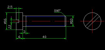 Cylindrical head screws CAD Drawings