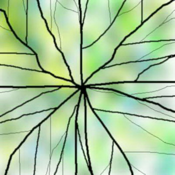 Green lotus leaf stained glass map