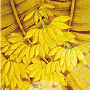 Gold plants glass painting map