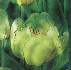 Green flowers glass painting map
