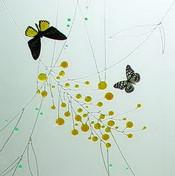 Elegant butterflies glass painting texture