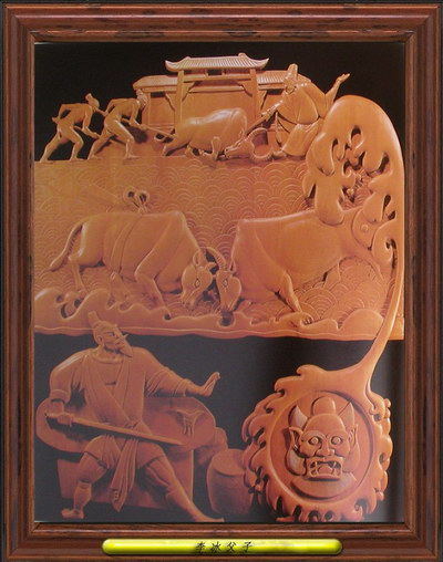 Classical Chinese legend wood relief