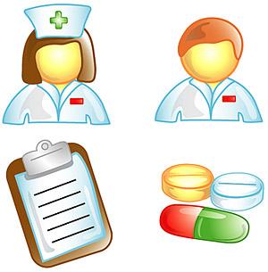 Médicos, enfermeras icono material de vectores