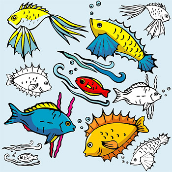 Verschiedene cartoon Fisch