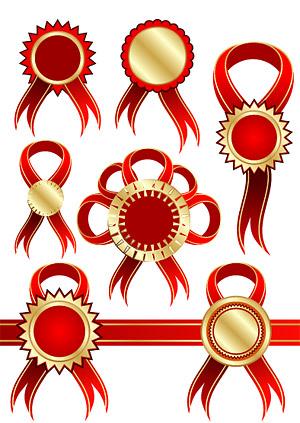 Material de vectores de cinta roja insignia