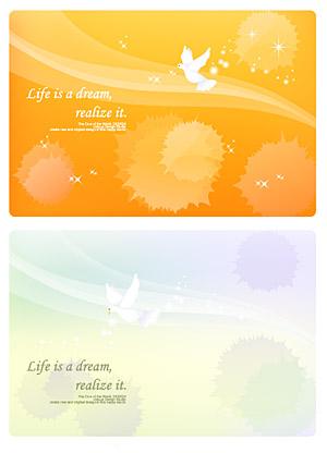 夢の行とハト背景素材をベクトルします。