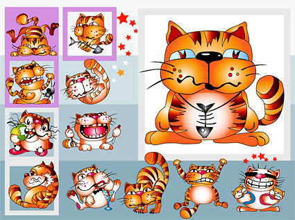 Material de vectores de gato de caricatura Linda