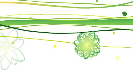 緑の線と花
