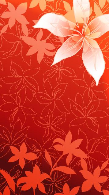 ユリの花と線画ベクター背景素材