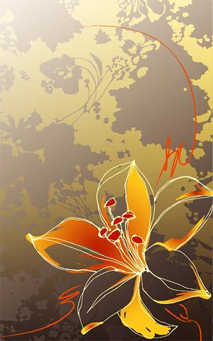 Flores pintados a mano de vectores de material de fondo