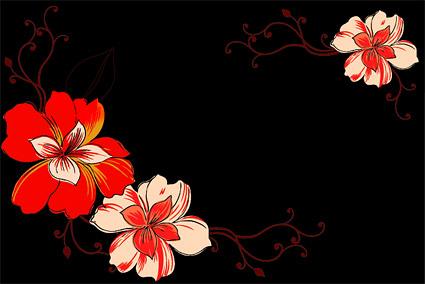 แฟชั่นดอกไม้เวกเตอร์วัสดุ