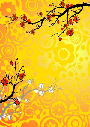Chino pintura estilo Plum vector de material
