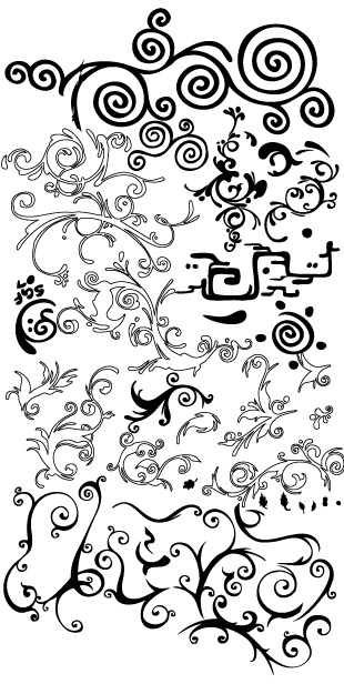 Material de vetor para padrões de preto e brancos