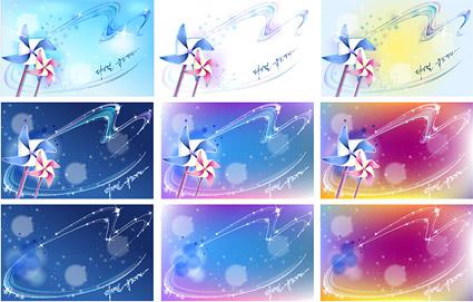 風車と夢のような背景素材ベクトル