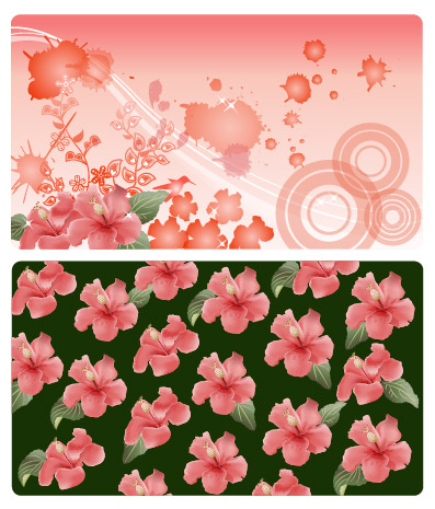 ดอกไม้และวัสดุเวกเตอร์หมึก
