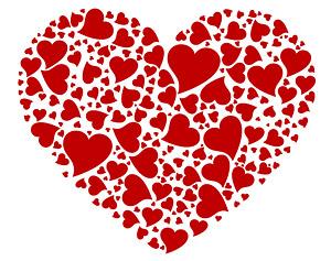 큰 심장-모양의 심장-모양의 벡터의 숫자의 구성