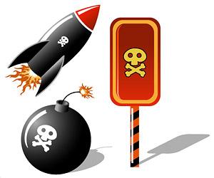 Elementos de cráneos misiles bomba