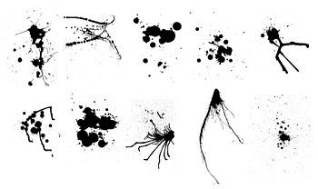 Elementos de materiales de vector de la tinta