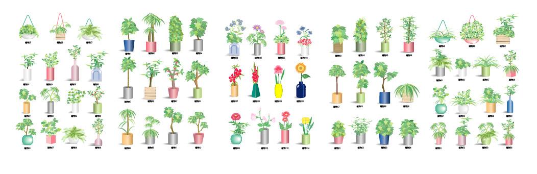 Planta flores elemento vector material-1