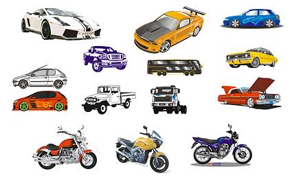 Автомобиль и мотоцикл векторного материала